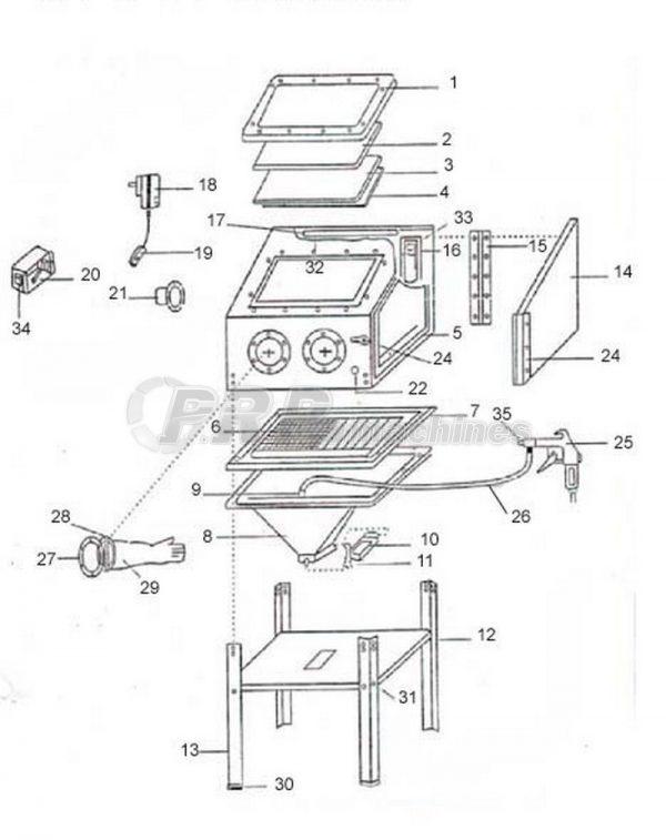 Cabine de sablage 220L + 50 kg abrasif V2 (soudée)