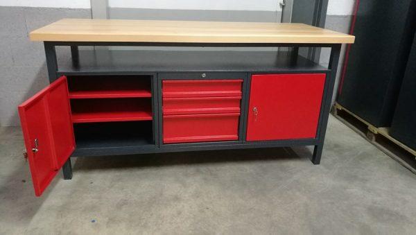 Établi d'atelier PRO 1700mm 2 portes 3 tiroirs