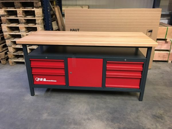Établi d'atelier PRO 1700mm 6 tiroirs 1 porte